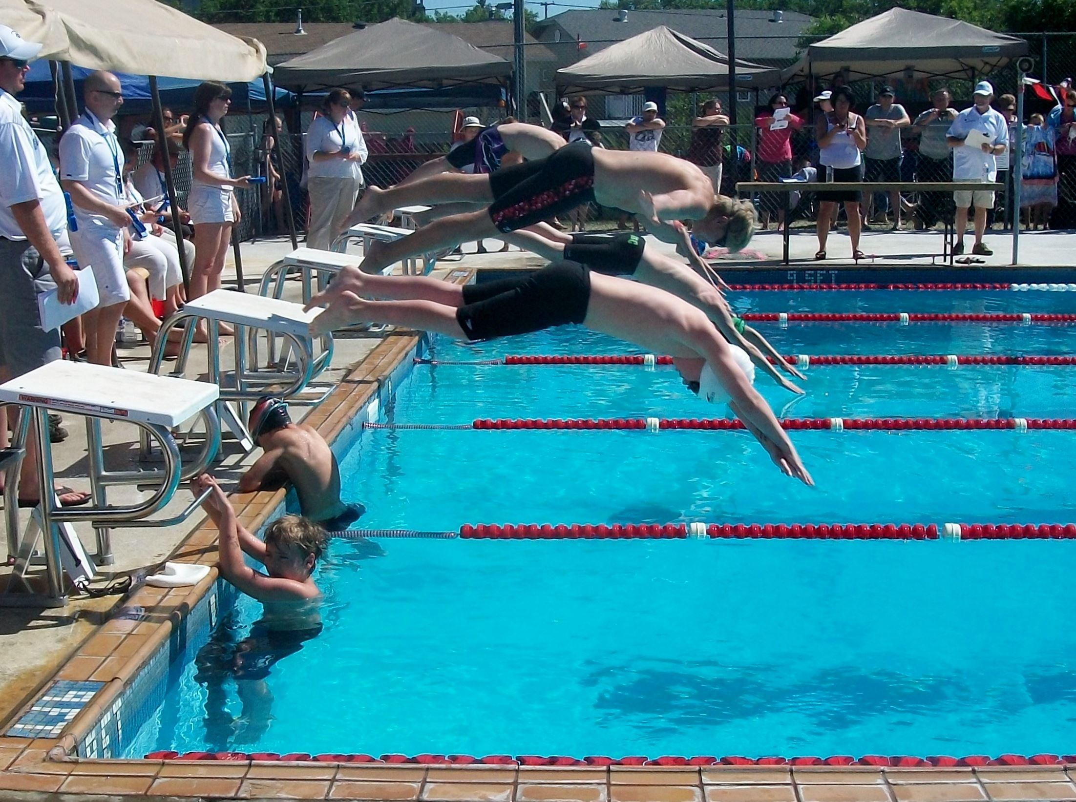 Athletes diving in the pool