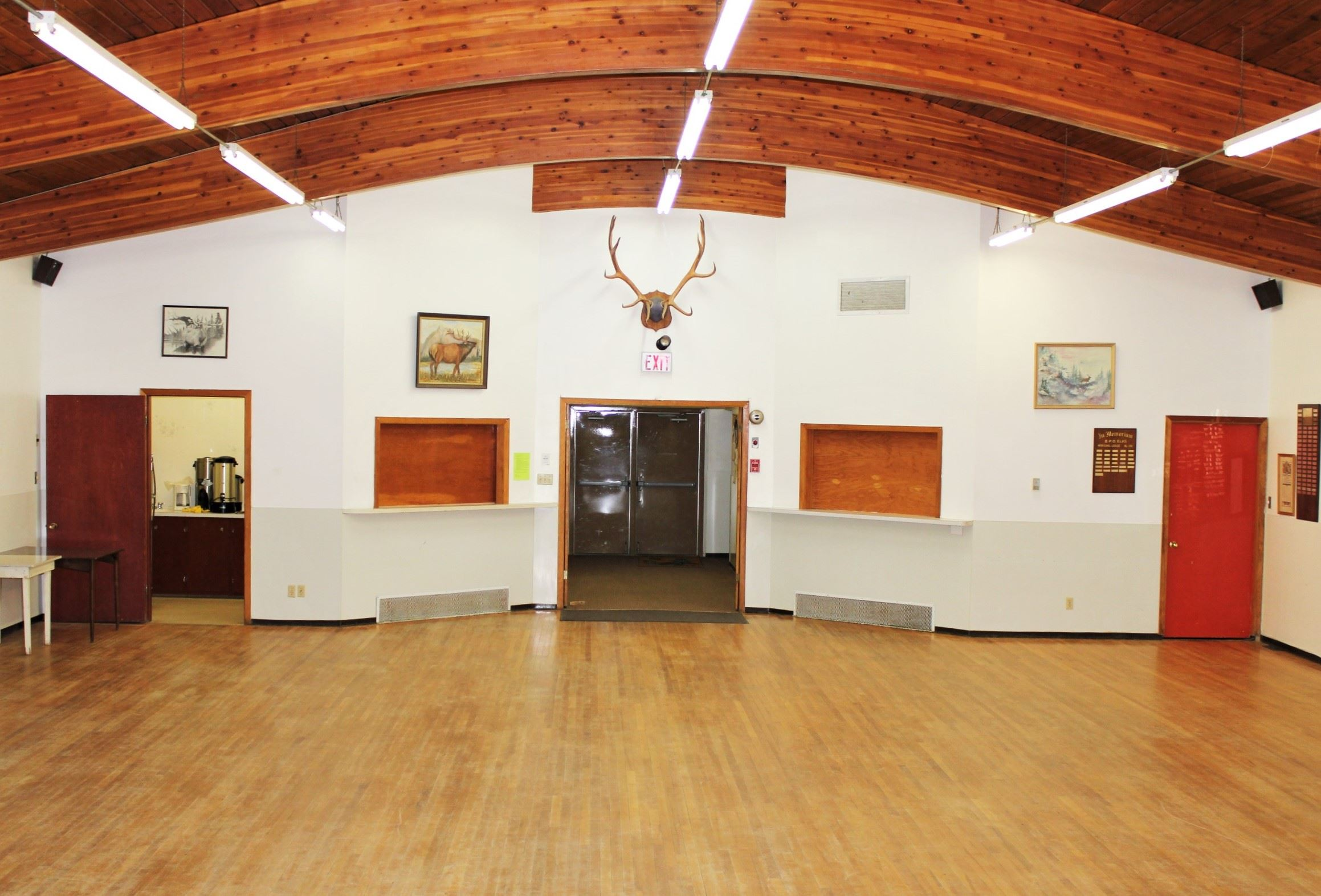Image of the interior of the Elk's Hall