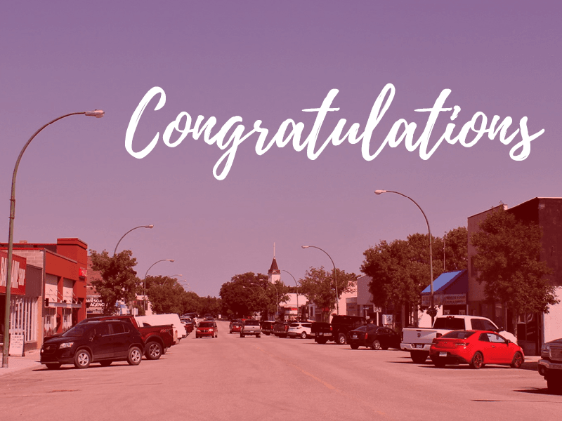 Image of downtown with word &#34congratulations&#34