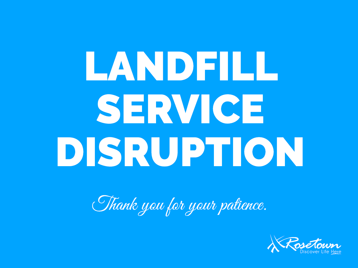 "Image of text reading ""Landfill Service Disruption"""